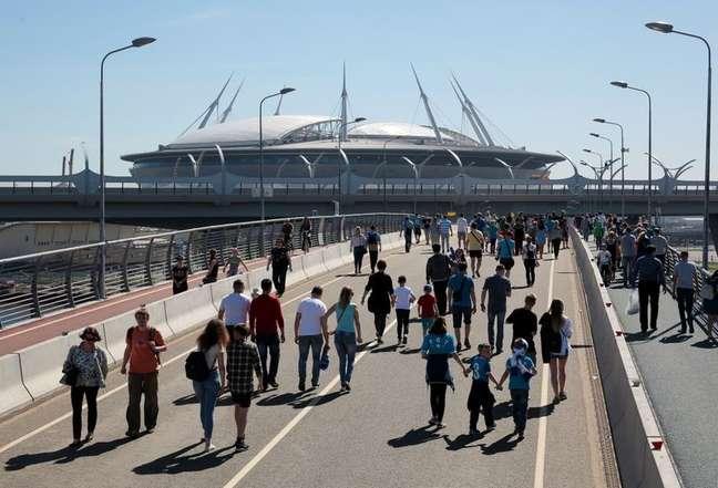 Estádio de São Petersburgo, na Rússia, que vai abrigar a decisão da próxima Liga dos Campeões 13/5/2018   REUTERS/Anton Vaganov