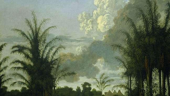 Pintura de uma plantação de 1707, de autoria de Dirk Valkenburg — o museu espera que esta exposição mude as narrativas sobre o passado colonial da Holanda