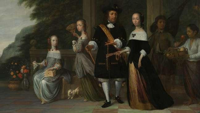 Pieter Cnoll com a família e seus criados escravizados — pintura de Jacob Coeman