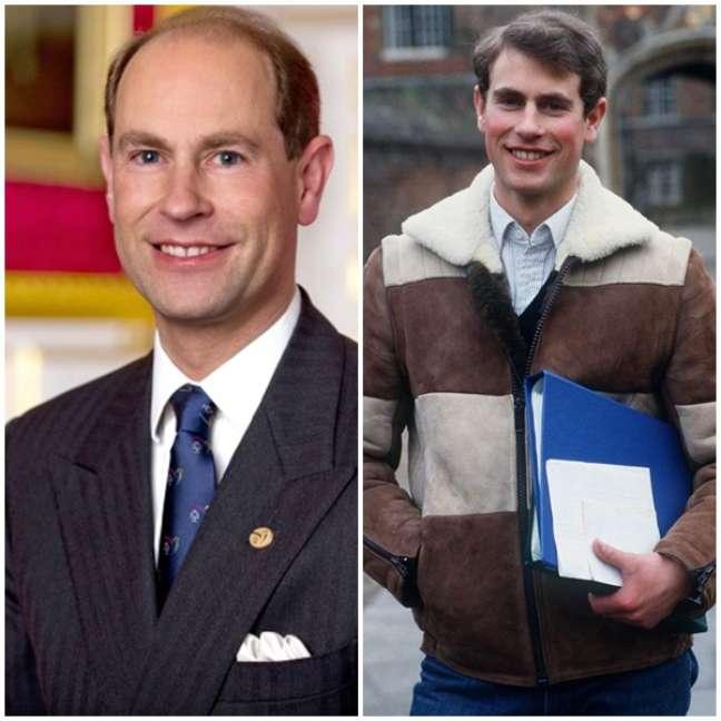 O príncipe Edward hoje e na juventude, quando sonhava ser artista de teatro, TV e cinema