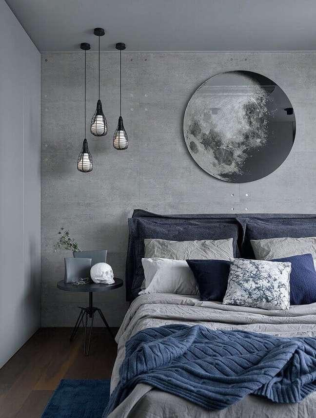 53. Dicas para decoração de quarto estilo industrial cinza com parede de cimento queimado – Foto: Arkpad