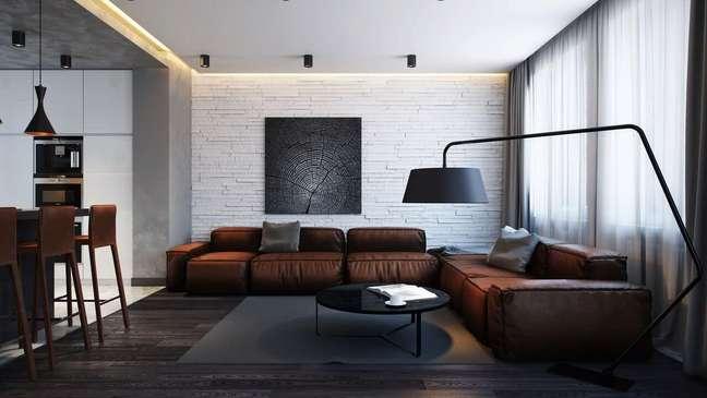 41. Sala de estar com tons de marrom e cinza super moderna – Foto Pinterest