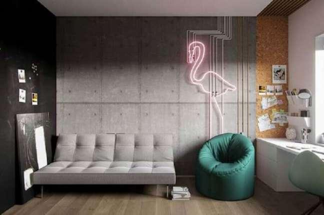 8. Sofá pequeno estilo industrial para sala de estar moderna – Foto Futurist Architecture