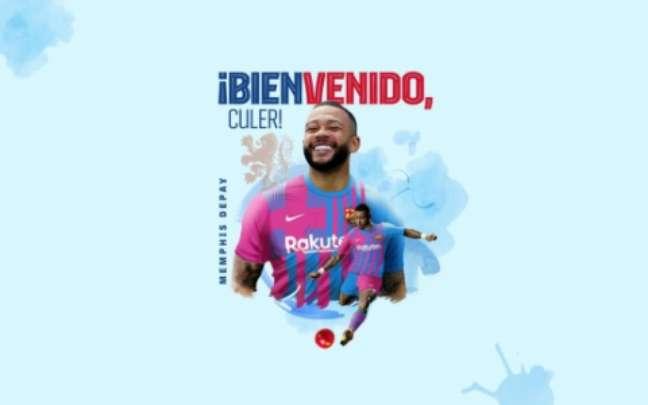 Depay já foi anunciado pelo Barça (Foto: Reprodução/Barcelona)