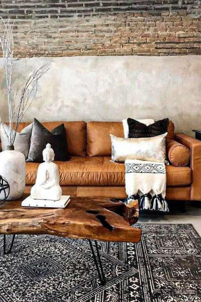 16. Tapete grande para sala de estar com sofá estilo industrial – Foto Amazon
