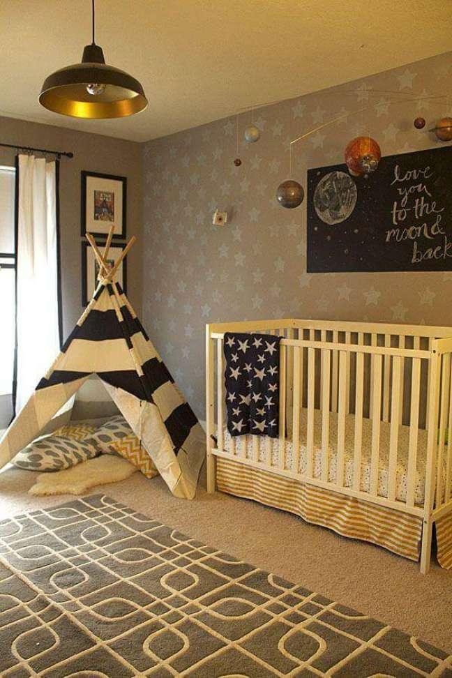 17. Dicas de decoração para quarto de bebê em cores neutras com papel de parede estrelinhas – Foto: Últimas Decoração