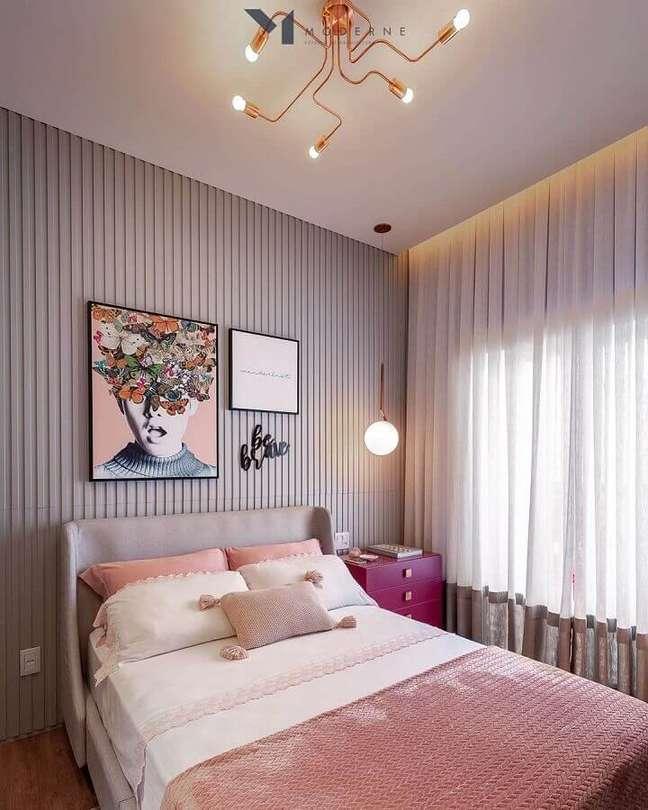 49. Dicas de decoração para quartos femininos modernos com revestimento 3D – Foto: Moderne