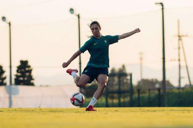 Júlia Bianchi durante treino da Seleção Feminina nesta segunda-feira no Japão Sam Robles/CBF