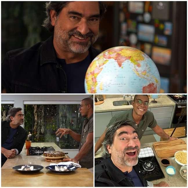 Zeca Camargo e o chef Moa, que preparou torta com berinjelas no Sabor & Arte: pena a TV não ter cheiro