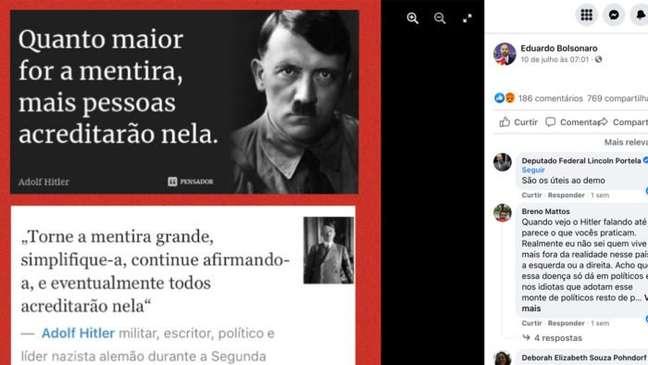 Print do post Eduardo Bolsonaro que cita Hitler