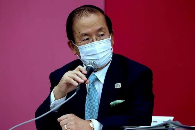Presidente-executivo da Tóquio 2020, Toshiro Muto, durante entrevista coletiva em Tóquio 09/07/2021 Behrouz Mehri/Pool via REUTERS