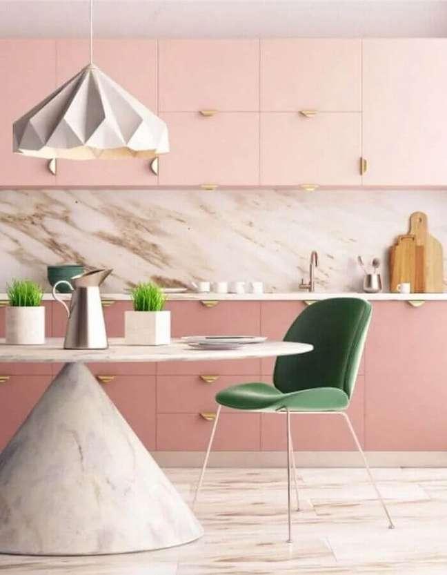 27. Decoração rosa chá para cozinha planejada moderna – Foto: ViralDeco