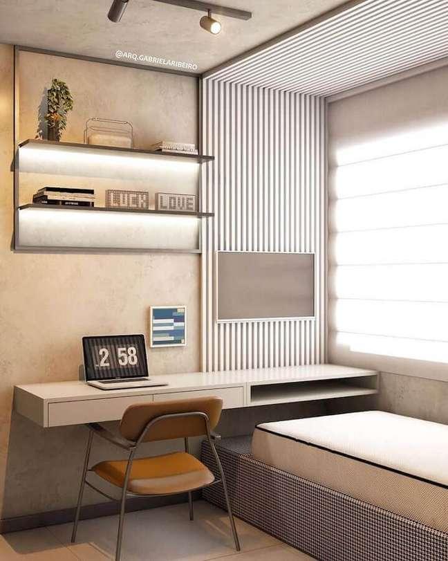 8. Decoração moderna em cores neutras para quarto solteiro com escritório – Foto: Pinterest