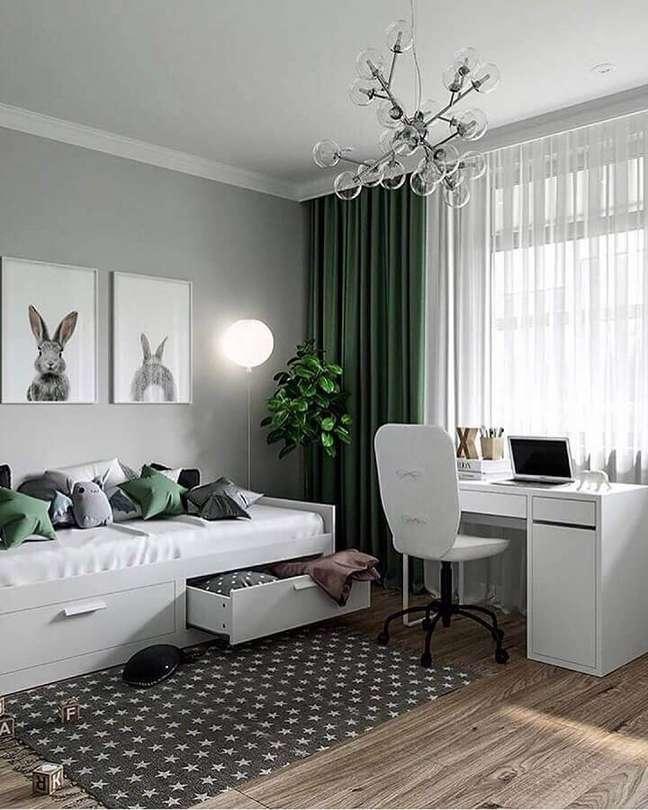 2. Saiba como montar seu quarto com escritório – Foto: Decoholic