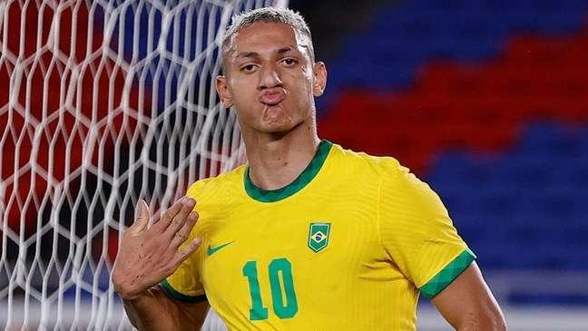 Richarlison comemora gol marcado contra Alemanha na estreia da seleção brasileira na Olimpíada de Tóquio 22/07/2021 REUTERS/Phil Noble