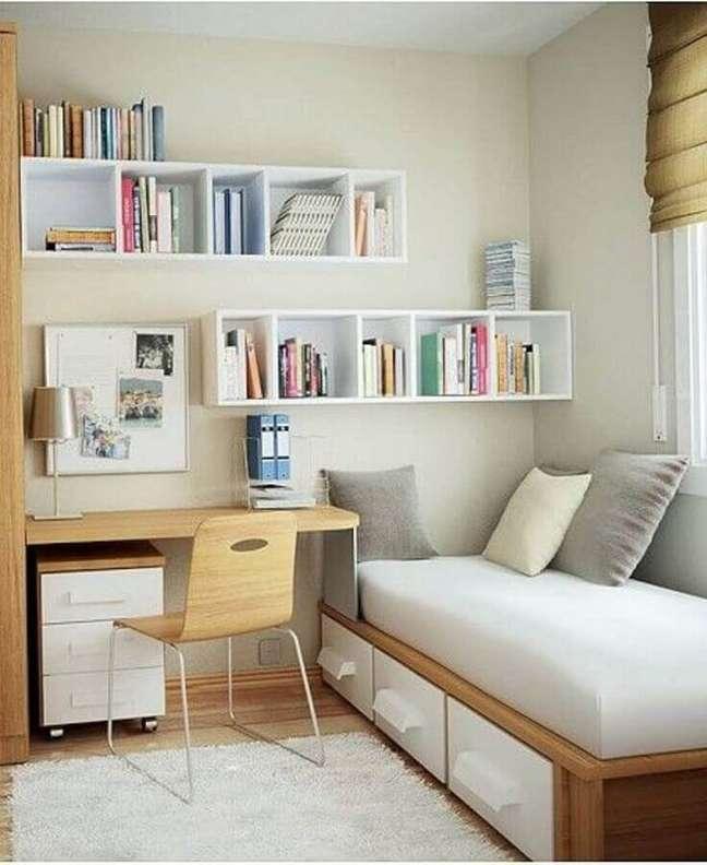 9. Decoração simples para quarto de hóspedes com escritório – Foto: Archidea