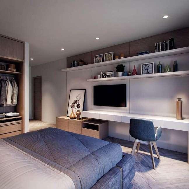 28. Decoração moderna para quarto de casal com escritório planejado – Foto: Behance