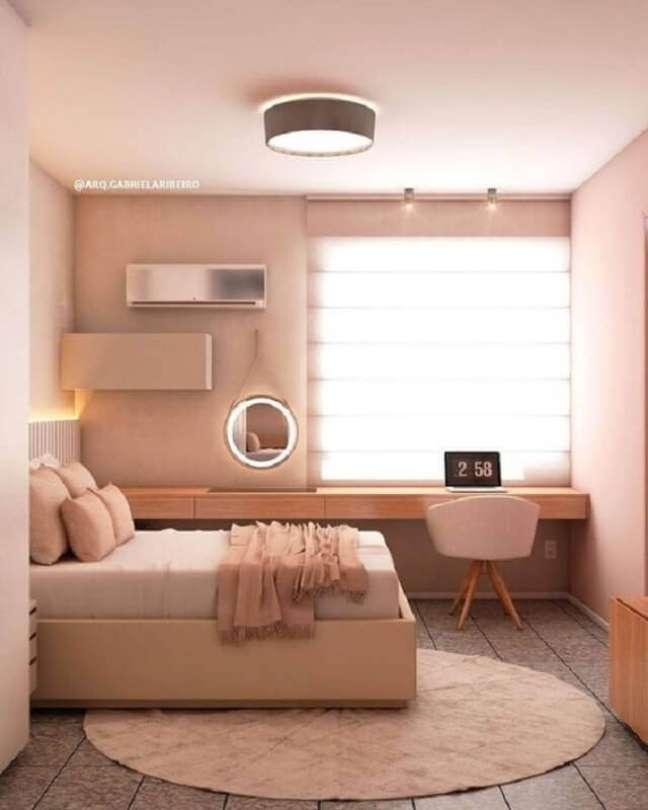 5. Tenha um bom projeto de iluminação para o seu quarto planejado com escritório – Foto: Pinterest