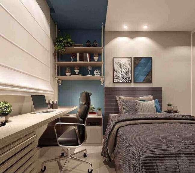 29. Decoração moderna para quarto planejado com escritório – Foto: Eduardo Muzzi