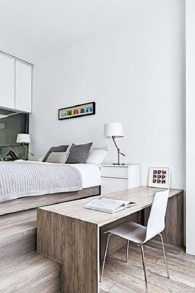 23. Decoração de quarto com escritório minimalista – Foto: Pinterest