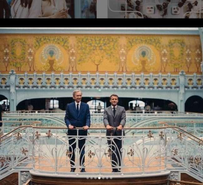 Bernard Arnault com o presidente da França, EmmanuelMacron, na inauguração daLaSamaritaine, novo templo do luxo em Paris, pertencente ao grupo LVMH