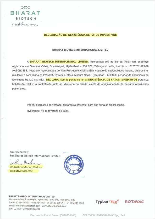 Em suposta carta, Bharat Biotech declara que não há nenhum fator impeditivo para contratação da Precisa Medicamentos; farmacêutica indiana nega ter assinado documentos.