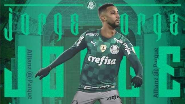 Palmeiras anunciou a contratação dolateral-esquerdo Jorge com vínculo até 2025