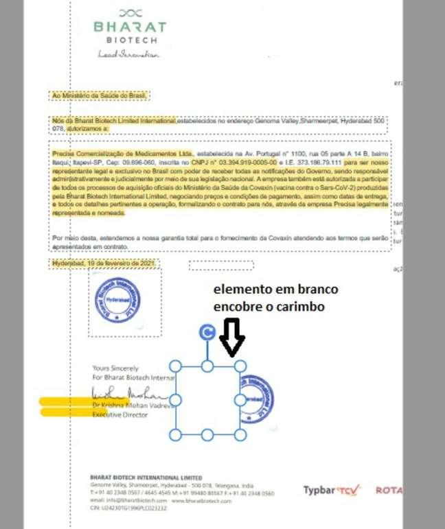 O documento com indício de colagem. Na imagem, um elemento em branco encobre o carimbo.