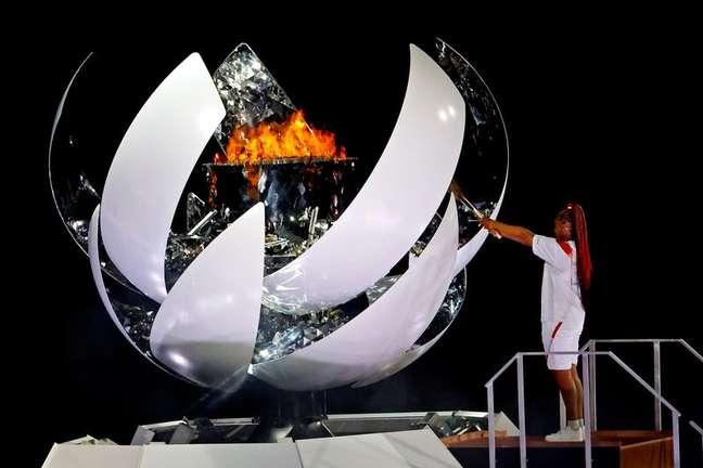 Naomi Osaka acende a pira olímpica dos Jogos de Tóquio 23/07/2021 Geoff Burke-USA TODAY Sports