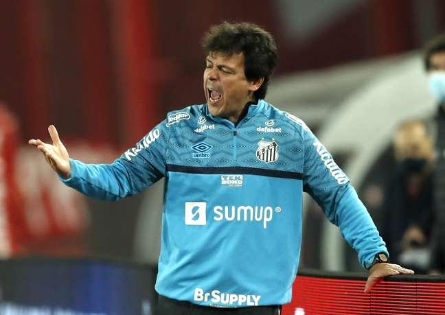 Fernando Diniz orienta a equipe do Santos