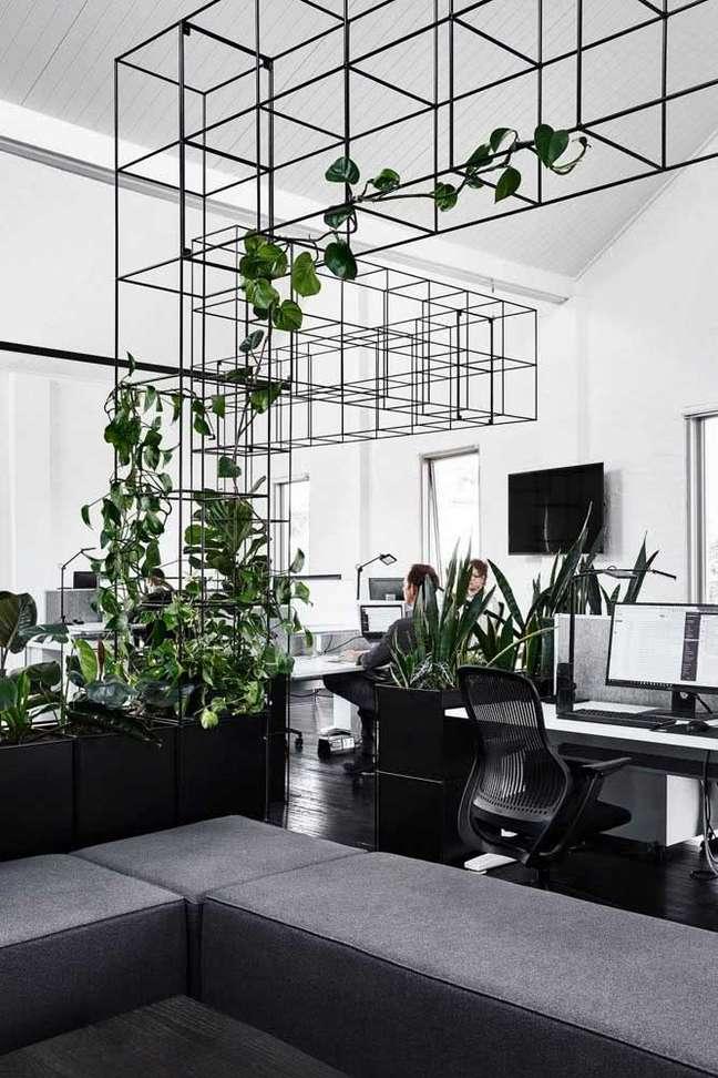 62. Divisórias para escritório com estante de ferro com plantas e móveis pretos – Foto Pinterest