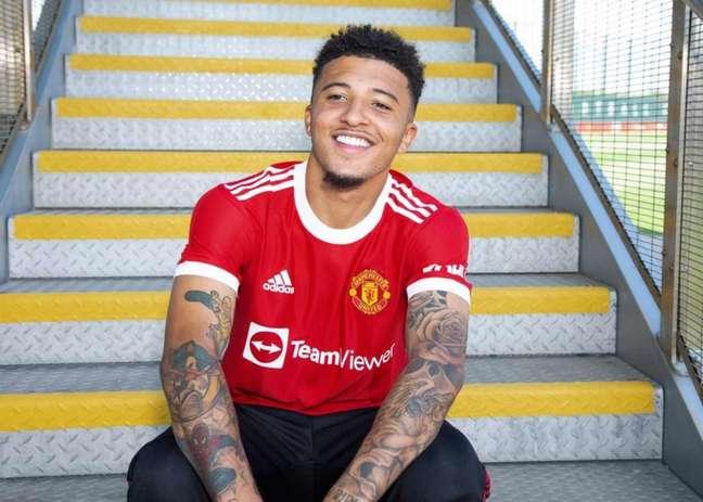 Sancho já conheceu as instalações do Manchester United (Foto: Divulgação / Manchester United)