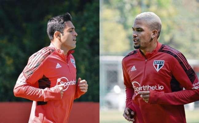 Eder e Luciano durante trabalhos de fisioterapia no gramado (Fotos: Reprodução/Twitter @SaoPauloFC)