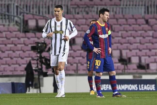 Cristiano Ronaldo levou a melhor no último confronto com Messi e Juventus bateu o Barcelona por 3 a 0 (Foto: AFP)