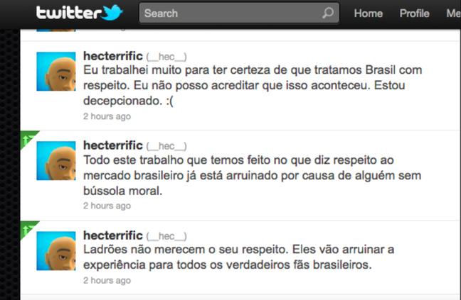 Tweets feitos por Hector Sanchez, produtor de MK9, em 2011