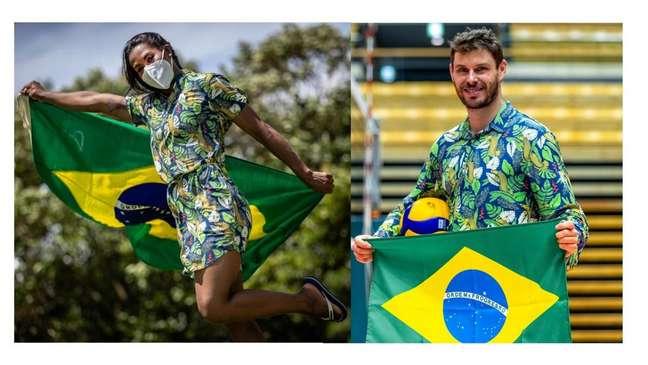A judoca Ketleyn Quadros e o levantador Bruninho, porta-bandeiras do Brasil na cerimônia de abertura da Olimpíada