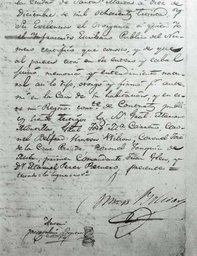 Bolívar fez seu testamento em Santa Marta, na Colômbia, em 1830