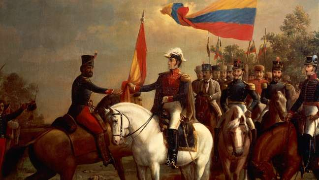 Detalhe da obra de Arturo Michelena sobre a emblemática Batalha de Carabobo, ocorrida em 1821. Ao centro, o herói: Simón Bolívar