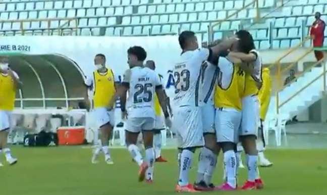 Romildo marcou o gol do Botafogo (Foto: Reprodução/Premiere)