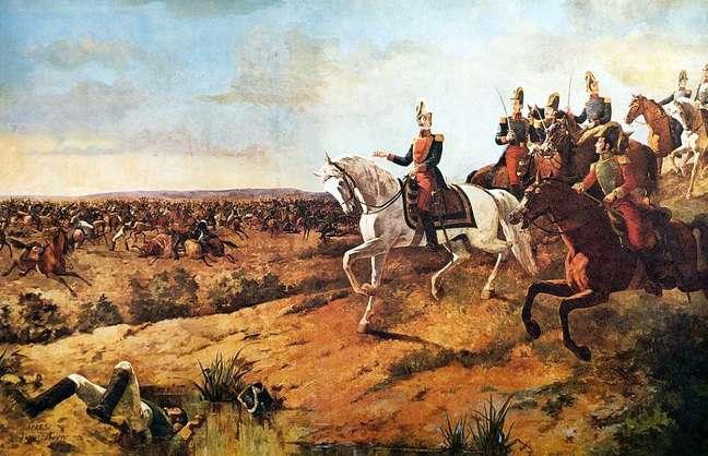 Para Bolívar, a unidade era a forma de manter as novas repúblicas — 'Batalha de Junín', obra do pintor Martín Tovar y Tovar