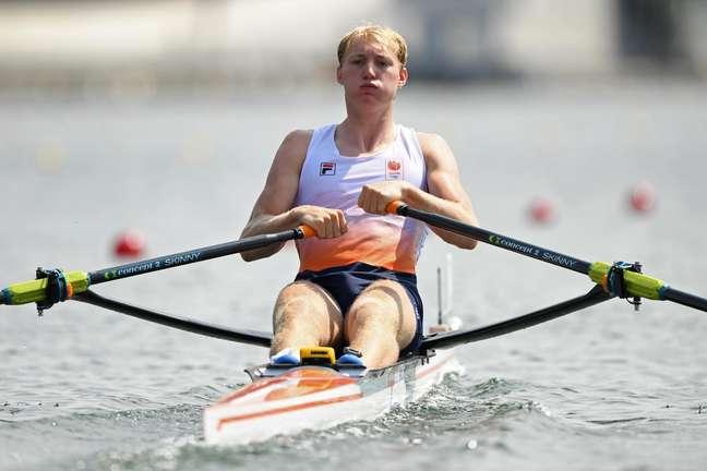 O holandês Finn Florijn durante prova eliminatória dos Jogos Olímpicos de Tóquio