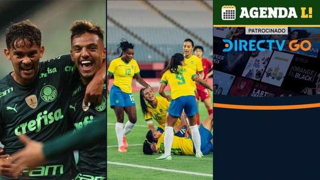 O dia terá Brasileirão, Olimpíada e muito mais! (Montagem Lance! Fotos: Cesar Greco / Palmeiras; Sam Robles/CBF)