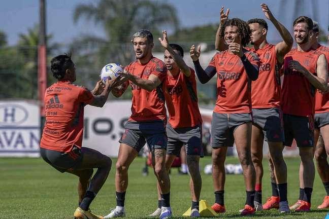 Atividade do Flamengo neste sábado no Ninho do Urubu (Foto: Marcelo Cortes/Flamengo)