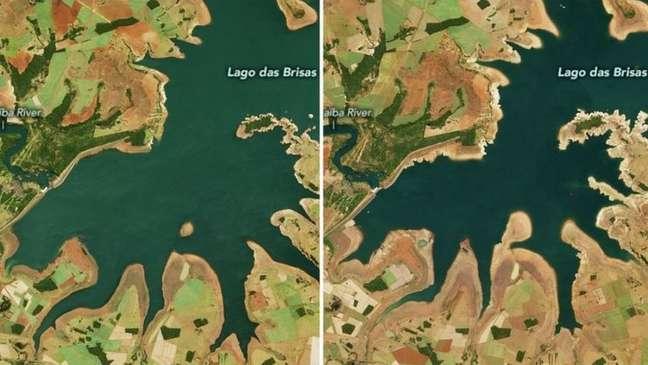 Comparação mostra impacto da seca no Lago das Brisas (MG): a imagem à esquerda foi registrada em 12 de junho de 2019 e a imagem à direita, em 17 de junho deste ano