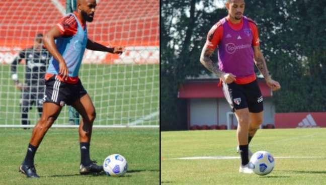 William e Luciano fizeram trabalhos físicos neste sábado (Foto: Fellipe Lucena/São Paulo FC)