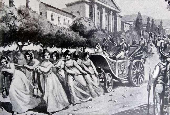 Entrada triunfal de Bolívar em Caracas, em junho de 1821, após a vitória na Batalha de Carabobo