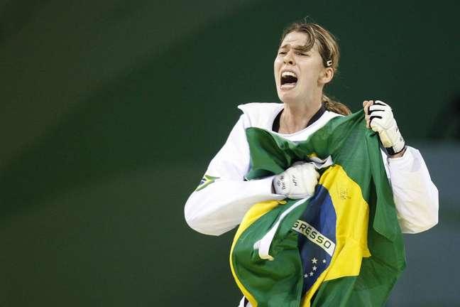 Natália Falavigna na conquista da medalha de bronze em 2008. (Foto: Divulgação/Nathan Campos)