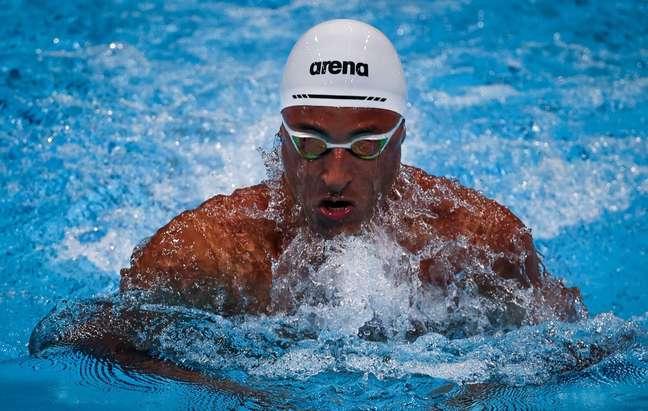 Felipe Lima durante a prova dos 100m peito neste sábado em Tóquio Jonne Roriz/COB