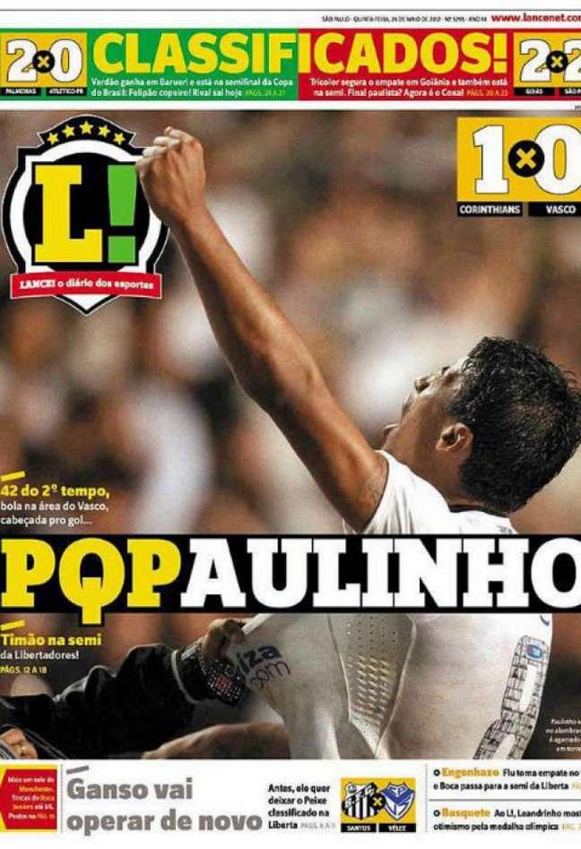 Em 2012, o LANCE! destacou o gol de Paulinho que classificou o TImão à semi da Liberta (Imagem: Arquivo LANCE!)