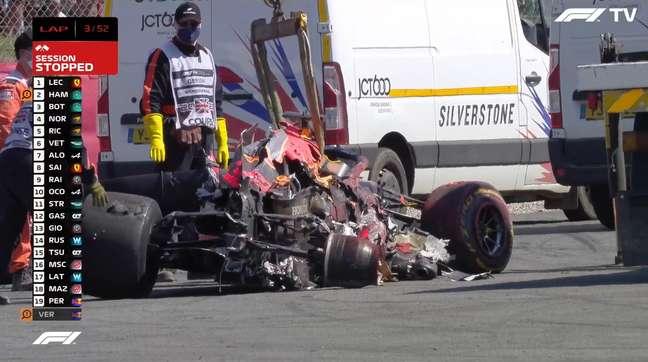 O GP da Inglaterra teve acidente forte de Max Verstappen